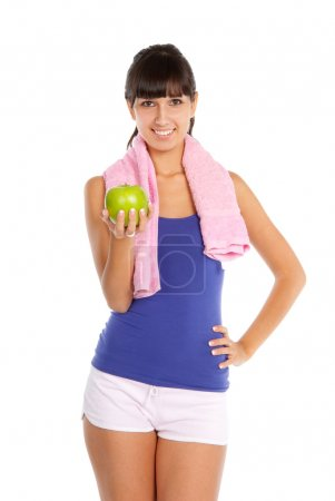 Young woman after fitness