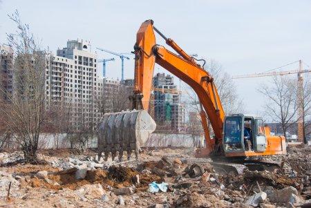 Working excavator