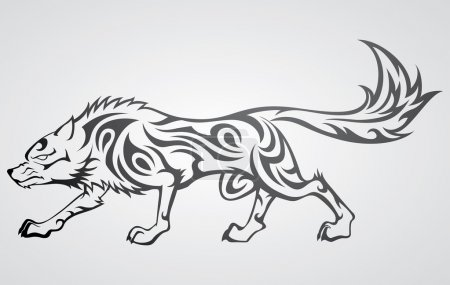 Illustration pour Illustration d'un tatouage de loup dans un style tribal - image libre de droit