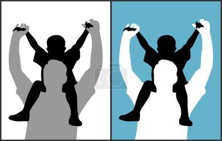 Illustration pour Deux versions d'un père et de son fils sont sur fond blanc isolé et fond bleu. Fichier EPS disponible . - image libre de droit