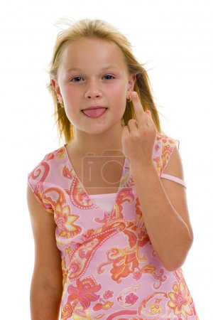 Schoolgirl showing middle finger