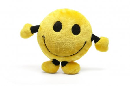 Photo for Smiley Soft Toy on White Background - Royalty Free Image