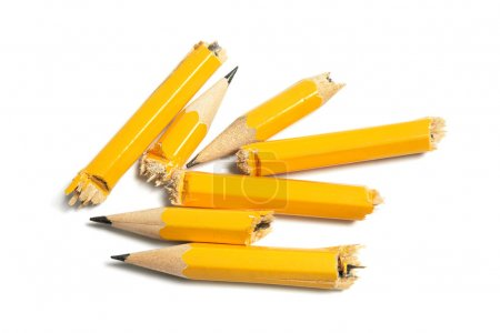 Photo for Broken Pencil Pieces on White Background - Royalty Free Image
