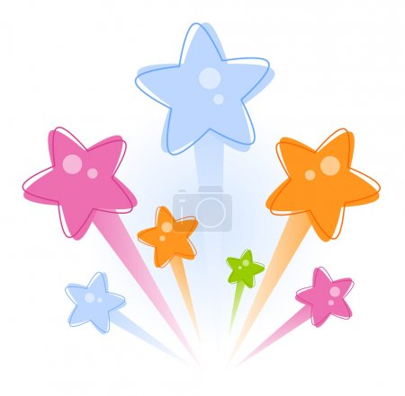 Illustration for Firework with stars over white background - Royalty Free Image