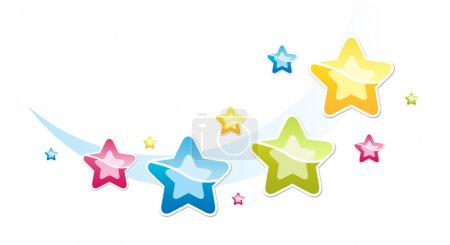 Illustration for Illustration with many-coloured stars - Royalty Free Image
