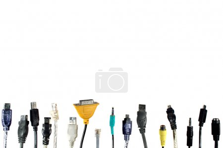 Photo for Various computer cables on white - Royalty Free Image