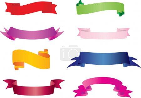 Illustration pour Ensemble de bannières : 8 couleurs et 8 styles dans un fichier. Changement de couleur entièrement modifiable et facile - image libre de droit