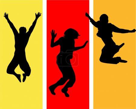 Funny jumping teens