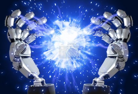 Photo for Plasma flash in hands of the abstract robot - Royalty Free Image
