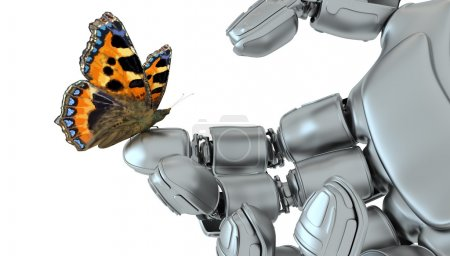 Photo pour Le papillon sur une main du robot contre une herbe du ciel bleu - image libre de droit