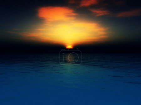 Photo for The sun setting in an ocean landscape. - Royalty Free Image
