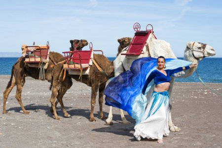 Belly Dancer with Camel Train