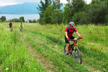 Mountain bikers on rural road
