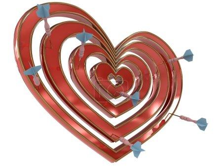 Dartboard heart with darts