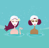 Beautiful girl talking in pool Vector Illustration