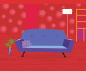 Red living room in retro style