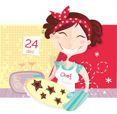 Illustration for Eve is baking christmas cookies. Lifestyle vector Illustration. - Royalty Free Image