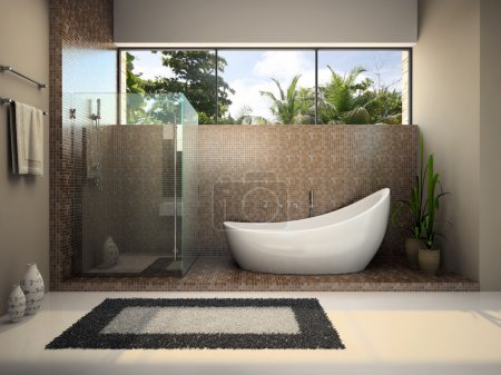 Photo for Interior of the modern bathroom 3D rendering - Royalty Free Image
