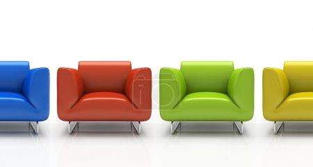 Four colourful armchairs