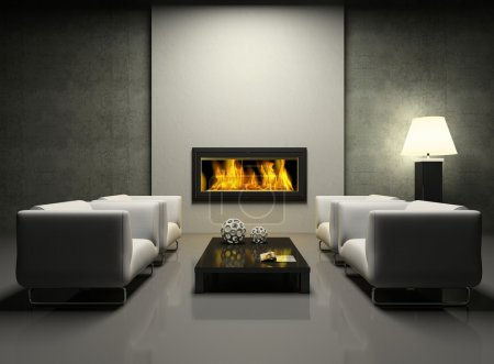 Photo for Modern interior with fireplace 3D rendering. Photo in magazine was made by me, I uploaded model's release - Royalty Free Image