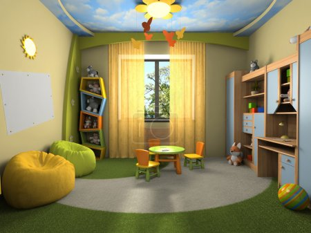 Photo for Modern interior of the childroom 3D rendering - Royalty Free Image