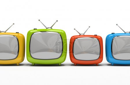 Four colorful television sets