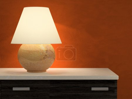 Photo for Lamp and red wall 3D rendering - Royalty Free Image