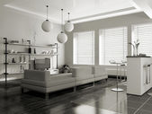 Modern interior (sepia) with sofa