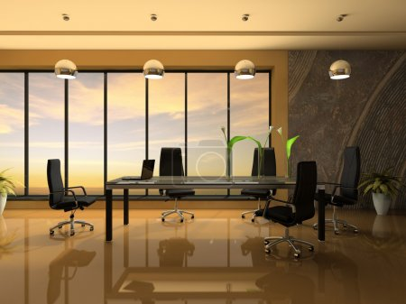 Photo for Interior of the modern cabinet for negotiations 3D rendering - Royalty Free Image