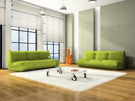 Modern interior with green sofas and white carpet...