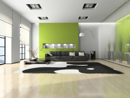 Photo pour Intérieur moderne avec canapé et blanc tapis 3d - image libre de droit
