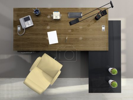 Photo for View from above of the modern office 3D - Royalty Free Image