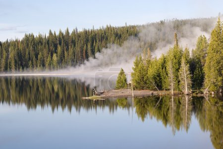 Geyser Reflections on Yellowstone Lake