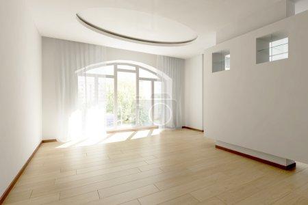 Photo pour Salle vide avec plancher en bois - image libre de droit