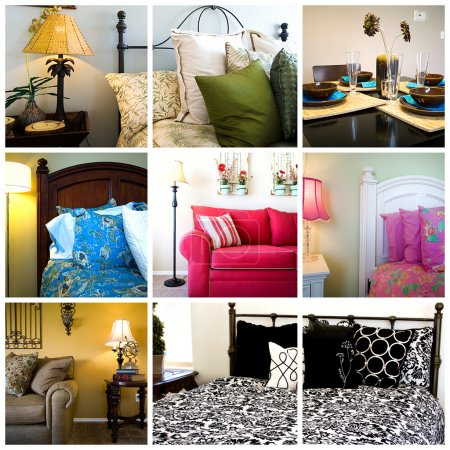 Photo for Collage of Home Interior - Bedrooms, Living and Dining Rooms - Royalty Free Image