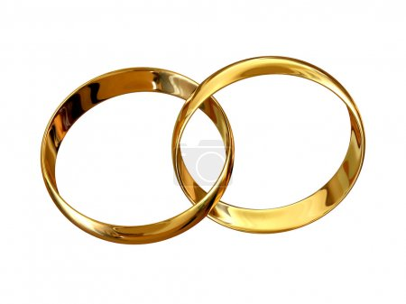 Photo for Connected golden wedding rings isolated on white background - Royalty Free Image