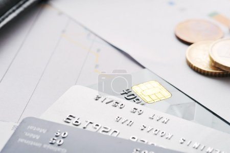Credit cards and coins