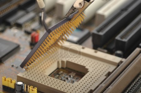 Photo for Computer Central processor being installed - Royalty Free Image