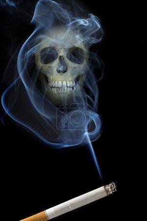 Scull in smoke