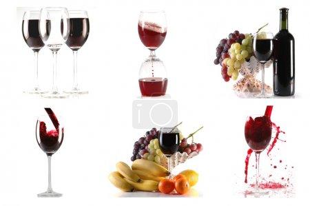 Photo pour Vin et fruits sur fond blanc colage - image libre de droit
