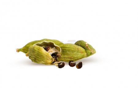 Cardamom pods with cardamom seeds isolate on white...