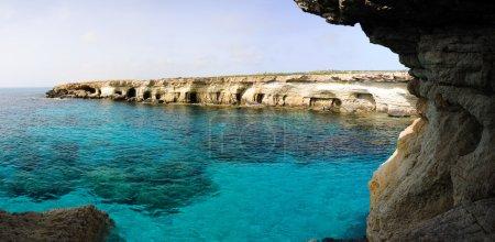 Blue marina and sea caves