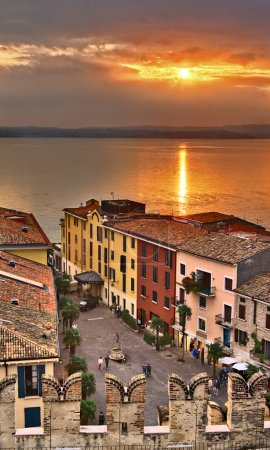 Sunset in Sirmione, Italy