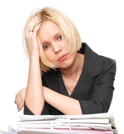 Photo pour Blonde dans la panique d'un grand nombre de travaux - image libre de droit