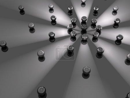 Photo pour Un fond de sphères en orbite autour de faisceaux lumineux - image libre de droit