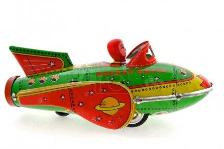 Photo for Retro rocket toy on white - Royalty Free Image
