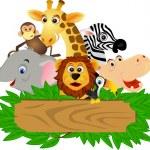 Vector illustration of funny animal cartoon...