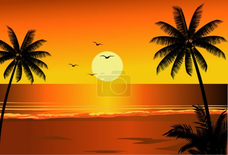 Illustration for Vector illustration of beach sunset - Royalty Free Image