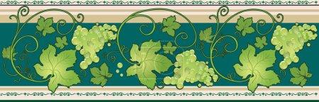 Illustration pour Bordure horizontale avec vignes décoratives et feuilles de couleur verte - image libre de droit