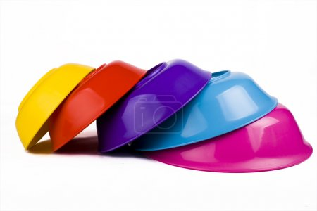 Colored plastic bowls